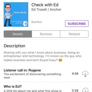 Check with Ed podcast in Apple Podcasts